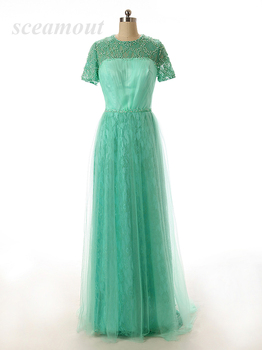 Noble A-Line Floor-Length Beads Sequined Sweep Train O Neck Cap Short Sleeve Sage Chiffon Tulle Evening Dresses