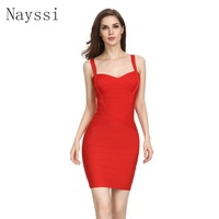Nayssi 2019 Bandage Dress Sweetheart Neckline High Quality Sexy Women Bodycon Wholesale Spaghetti Strap Evening Party Dress