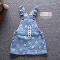 Baby dress 2016 bebé de la manera ropa de niña de flores denim trajes de bebé vaquero jeans vestidos monos para niños girls dress