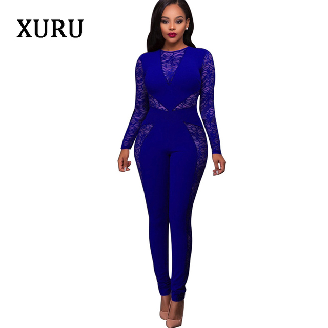 16f6b04e1269 XURU Lace Long Sleeve Women Jumpsuits 2018 Autumn Womens Overalls Lace  Patchwork Sexy Club Jumpsuits Solid