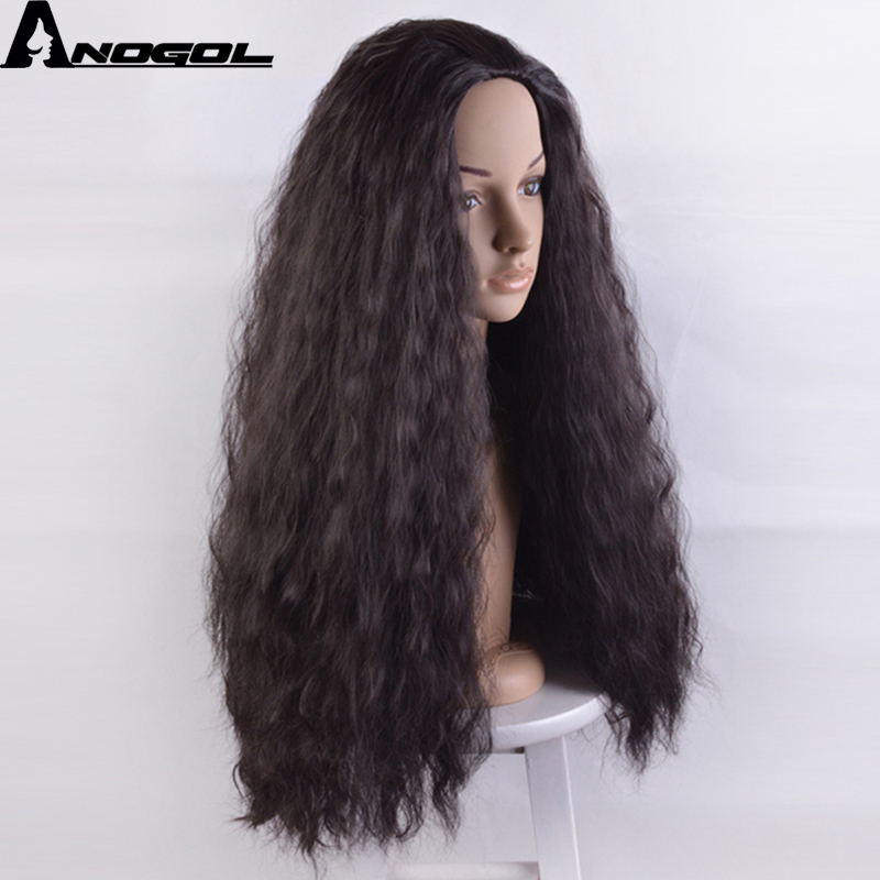 Anogol Long Curly High Temperature Fiber Moana Natural Black Synthetic Cosplay Wig For Women Ladies Girls