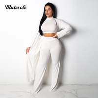 Mutevole Ribbed Crop Top 3 Piece Set Pants Set Womens Elastic Knitted Three Piece Sets Casual Long Sleeve Cardigan Outfits Set