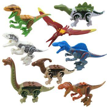 8 шт. строительные блоки Динозавры юрского периода legoings Tyrannosaurus Блочный конструктор модели кирпичи игрушки Юрского периода мир парка Цифры ...