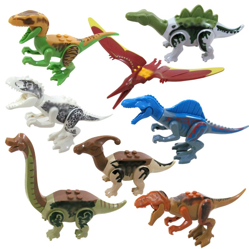 8pcs Jurassic Dinosaurs Building Blocks legoings Tyrannosaurus Movie Sets Models Bricks jurassic Toys World of park figures Toy yft 5pcs set tungsten carbide milling cutter 3 4 5 6 8mm 4 flute end mills cnc router bit for cutting metal tools