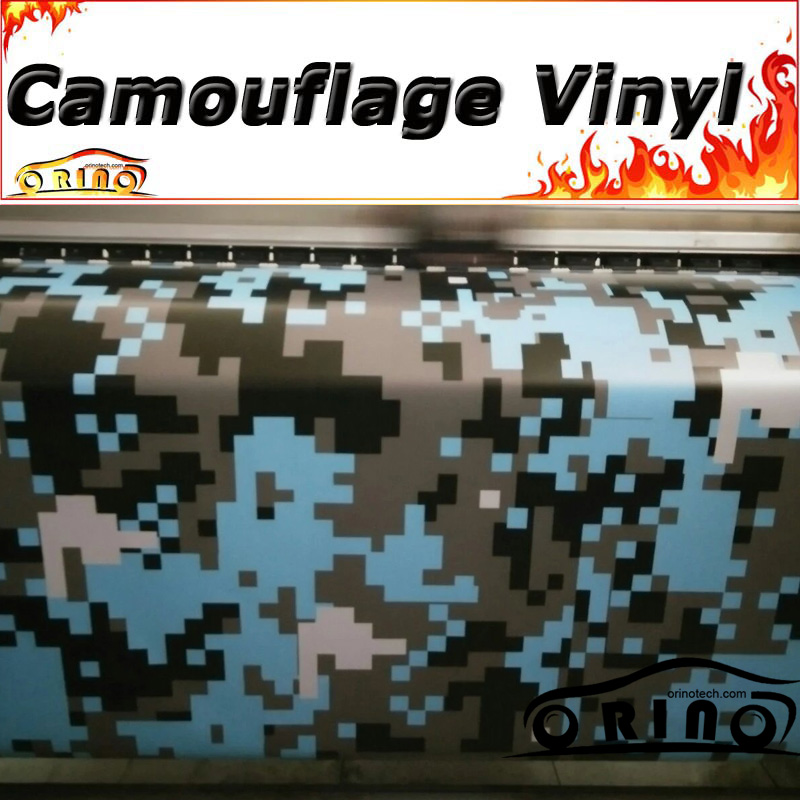 Blue Black Digital Film Sticker Camouflage Wrap Vinyl Vehicle Pixel Camouflage Wrapping Sticker Film AIR BUBBLE FREE