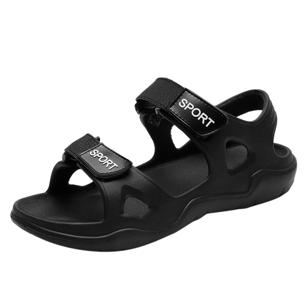 SAGACE 2019 New Black Casual Men's Beach Solid Hook Hollow Casual Breathable Flat Sandals Men's Comfortable Lightweight Sandals