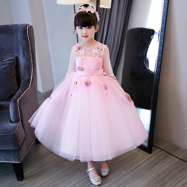 Glizt Pink Appliques Tulle Girl Summer Dress Flower Girl Dress Kid Party  Dress Wedding Dress Girls First Communion Gown Princess a14740c433a9