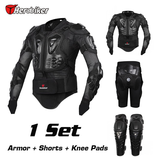 HEROBIKER 2016 New  Motorcross Racing Motorcycle Body Armor Protective Jacket+ Gears Short Pants+protective Motocycle Knee Pad