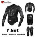 Herobiker 2016 nueva chaqueta motorcross racing motorcycle body armor protective engranajes + short pants + moto protector de la rodilla almohadilla