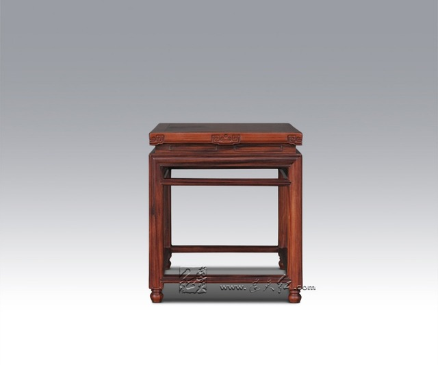 Small Square Wooden Stool Carved Jade Beads on the edge of the Bench Burma Redwood Classical Furniture Kids Chair China Rosewood
