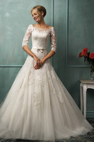 Latest Design Sexy Backless Wedding Dresses with Half Sleeve 2015 Princess Bridal Gown Ball Gown Organza Vestido De Noiva MW159