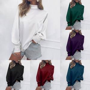 Image 2 - プラスサイズブランド新カジュアルシャツ女性オフィスブラウス白、赤、青高襟ランタンスリーブシフォンシャツ緩いトップス