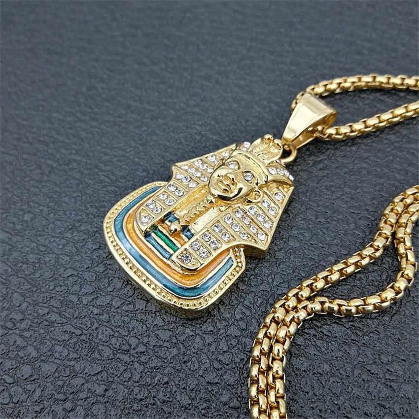 Egipski Iced Out Bling Rhinestone faraon wisiorek naszyjnik dla kobiet i mężczyzn ze stali nierdzewnej egipt biżuteria Dropshipping