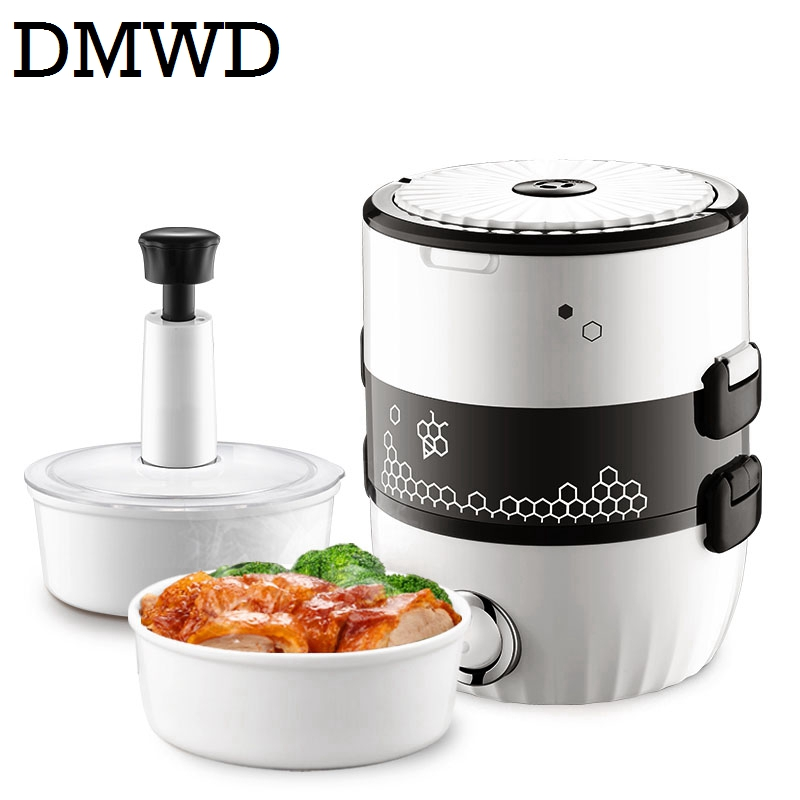 DMWD MINI rice cooker Portable electric heating lunch box heated food cooking Warmer Portable 2 layers steamer soup container portable 12v car electric heating lunch box rice cooker food warmer 1 05l 40w