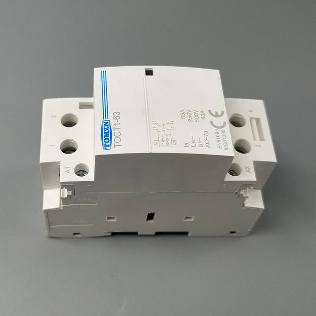 TOCT1 2P 63A 110V COIL 230V/220V 50/60HZ Din rail Household ac Modular contactor 2NO  1NC 1NO