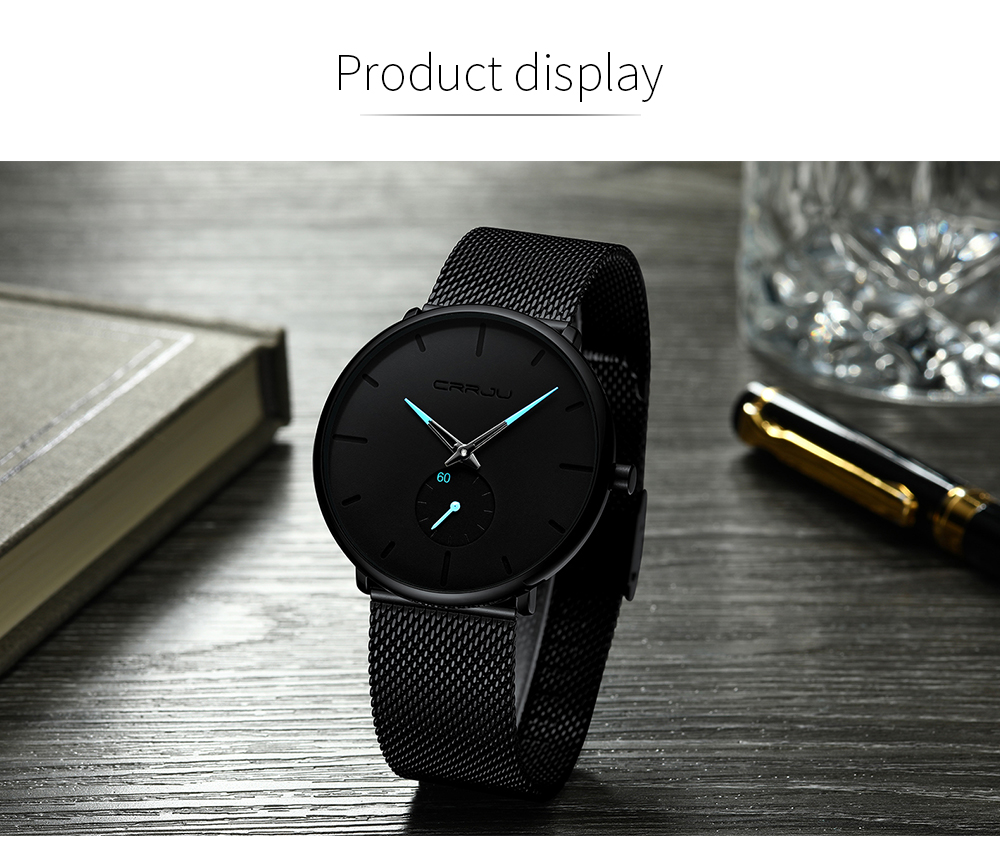 Crrju Fashion Mens Watches Top Brand Luxury Quartz Watch Men Casual Slim Mesh Steel Waterproof Sport Watch Relogio Masculino 14