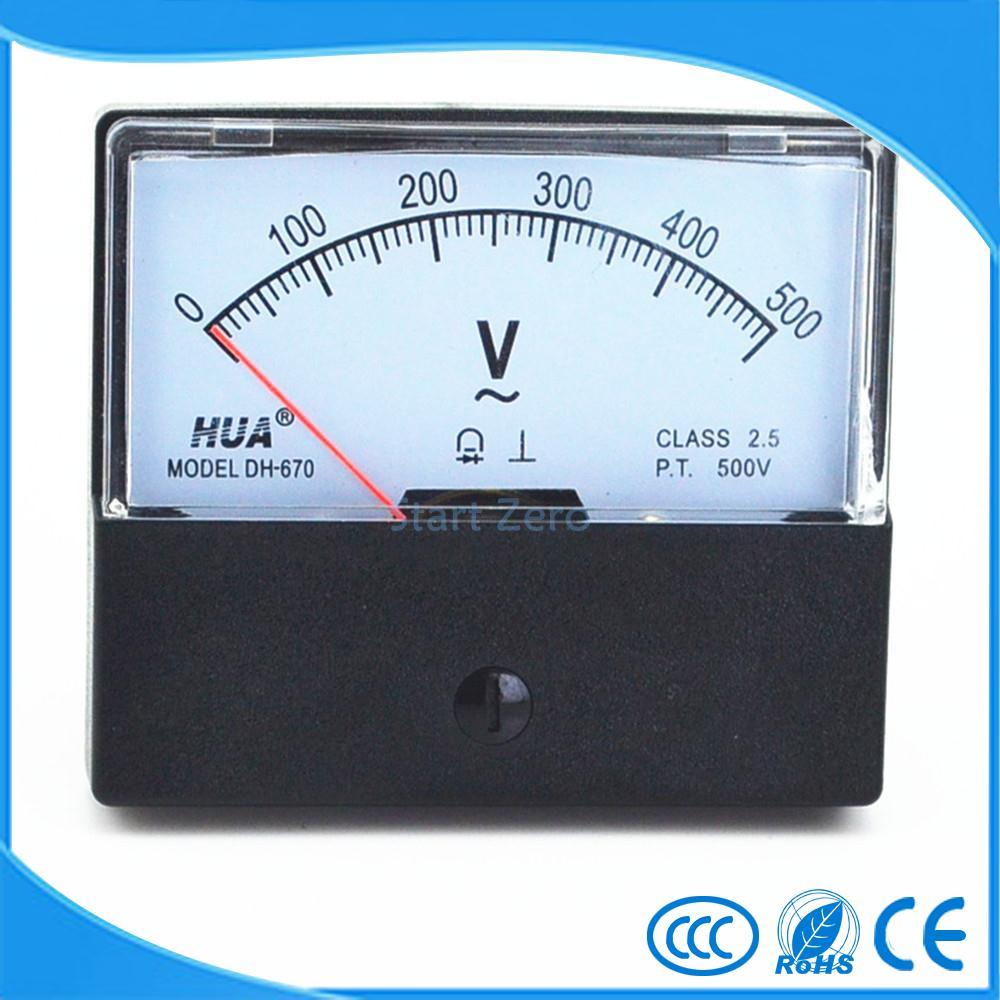 AC 0-500V Analog Panel Meter Voltmeter Gauge DH-670