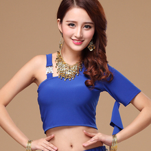 2016 Limited Real Women Cotton Bellydance Costume Square Belly Dance Top Fitness Service One Shoulder S61