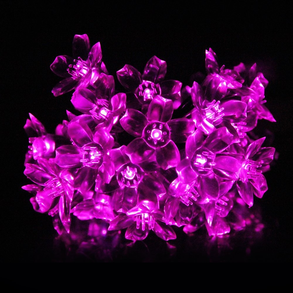 Red Solar Party Decorations Flower  String Lights  Water Proof (Includes 30 LED Lights) (6)