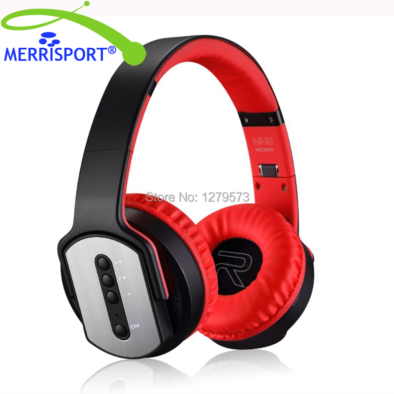 MERRISPORT Foldable Over-Ear Headphone Wireless Headsets Noise Reduction Headsets with Built-in Mic for Smartphones Tablets Red merrisport wireless bluetooth foldable over ear headphones headsets with mic for for cellphones ipad iphone laptop rose gold