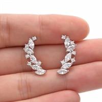 Tuliper Bridal Leaf Ear Cuff Vine 925 Sterling Silver Sparkling Cubic Zircon Earrings For Wedding Jewelry Bridesmaid Girl Gift