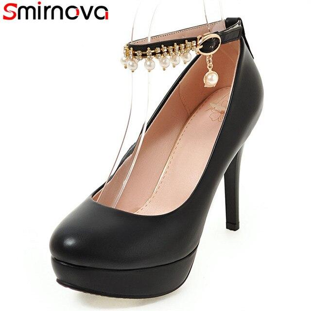 dbb2dd052c6 Smirnova 2018 new hot sale round toe platform sexy high heels shoes  stiletto heel ankle strap black white pink women pumps