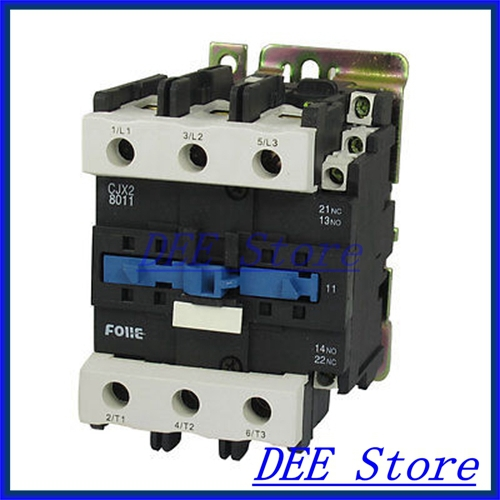 DIN Rail Mounted 3P 3 Poles 380V Coil 80Amp AC Contactor CJX2-8011 35mm din rail mounted 3p 1no 380v coil 25a ac contactor cjx2 2510