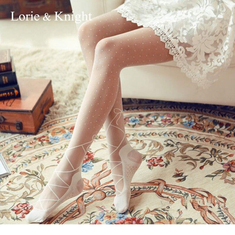 Vintage Princess Lolita Girl Black/White Lace-up Bow Polka Dot Sheer Tights