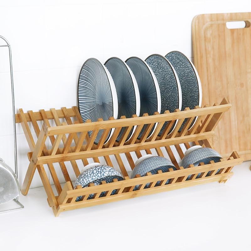 Double Folding Dish Drainer Drip Tray Dish Rack Kitchen