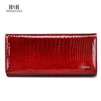 Fashion Alligator Womens Wallets Purses Patent Genuine Leather Ladies Leather Clutch Hasp Zipper Coin Pocket Credit