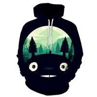 Japan Anime Totoro 3D Print Jackets Men/women Hip Hop Streetwear Hooded Sweatshirts Hoodie Boys Modis Black Clothes Harajuku