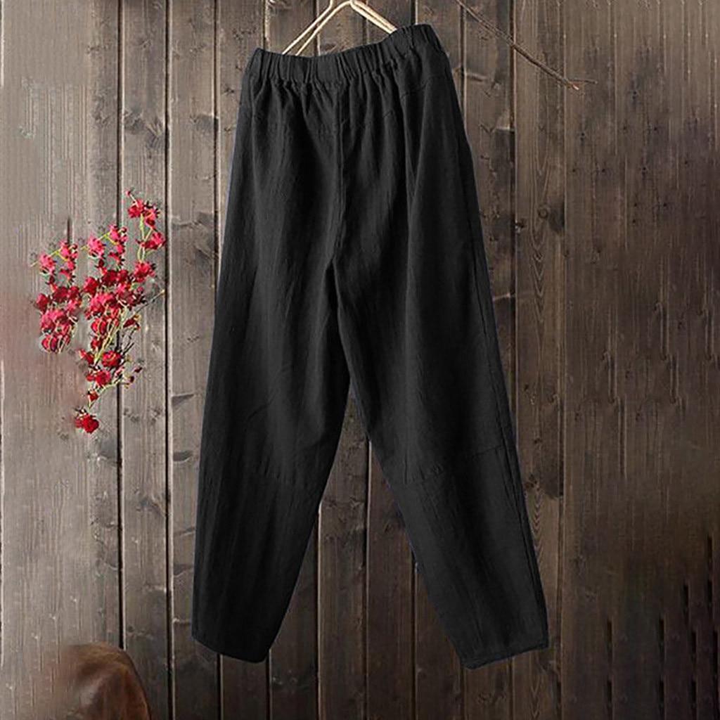 2019 Women Vintage   Wide     Leg     Pants   Autumn Elastic Waist Loose Cotton Linen Trousers   Pants   Solid Work OL Pantalon Plus Size