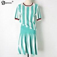 JOYDU Runway Brand Summer Dress 2 Piece Set Women 2018 New Green Striped Hollow Out Knitting