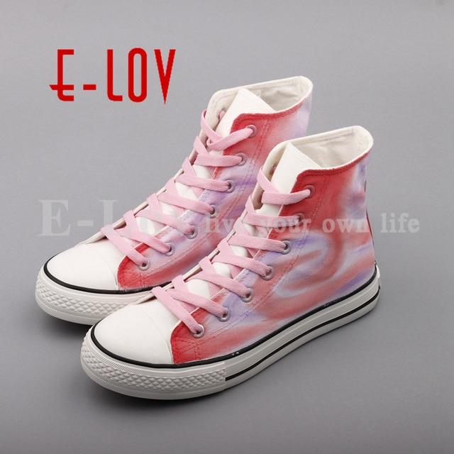 E Lov Rosa Farbe Graffiti Schuhe High End Hand Bemalte Leinwand