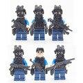 6/pcs city riot swat militar blindado cifra arma super hero niño bebé bloques de juguete set mini modelo compatible lepines ladrillo