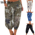 NIBESSER Women <font><b>Wide</b></font> <font><b>Leg</b></font> <font><b>Pants</b></font> Summer Patchwork Loose Calf-Length <font><b>Pants</b></font> Casual Floral Print Elastic Waist Woman Boho Trousers