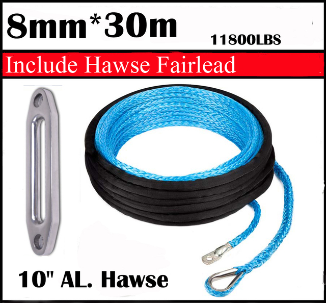 "New Strong 100% UHMWPE Synthetic Winch Cable/Rope 8MM*30Meter w/t+10"" Al. Hawse for 4WD/ATV/UTV/SUV Winch Use////free shipping"