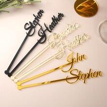 Персонализированные палочки для скручивания стола, вечерние палочки с именем, мешалки для напитков, свадебный душ, на заказ, палочка для перемешивания любви, Свадебный декор