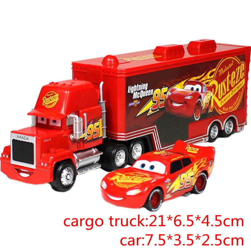 Hot Disney Pixar Cars 2 3 Mack Toy Lightning McQueen Jackson Storm Mac UncleTruck King 1:55 Diecast Metal Car Toys Boy Girl Toy