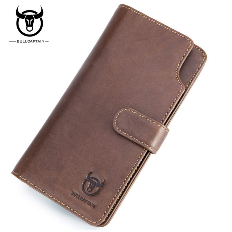 BULLCAPTAIN Genuine Leather Men Fashion Long Wallet Famous Brand Clutch Bag Cash Pocket ID Credit Card Holder Coin Purse