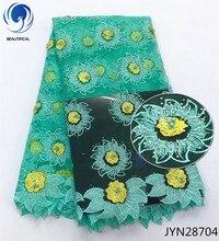 BEAUTIFICAL wedding beaded lace fabric green rhinestone african net flower design 5yards/piece JYN287