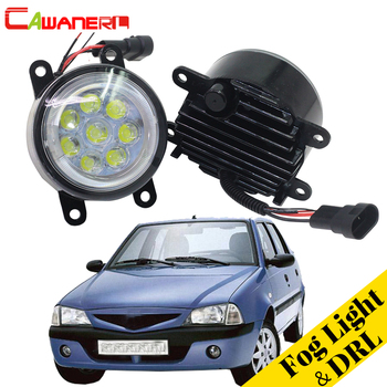 Cawanerl 2 X Car LED Fog Light Lamp Angel Eye DRL Daytime Running Light 12V Styling For Dacia Solenza Hatchback 2003-2007