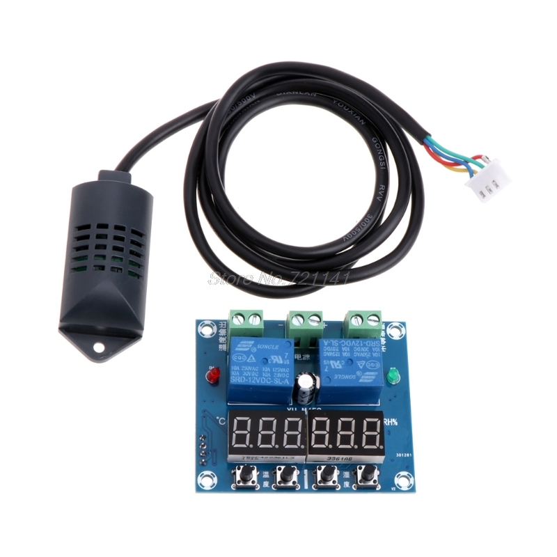 DC 12V Temperature and humidity control Temperature controller thermostat humidistat with Sensor For 220v electric applianceDC 12V Temperature and humidity control Temperature controller thermostat humidistat with Sensor For 220v electric appliance