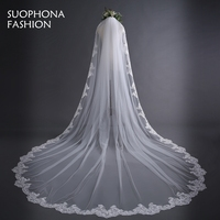 New Off White Cathedral Wedding Veils Long Lace Edge Bridal Veil With Comb Wedding Accessories Bride