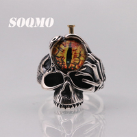 SOQMO Women Men Thailand 100% Pure 925 Sterling Vintage Opening Thai silver Eyes of God Lord of the Rings Jewelry 2018 SQM176