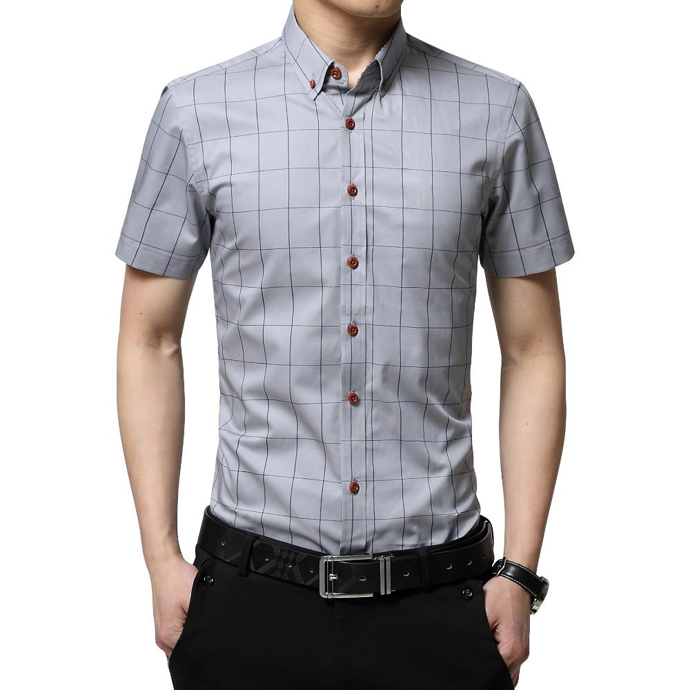 Plus Size 5XL 2019 Summer Fashion Men's Short Sleeve Cotton Social Shirts Plaid Checked Shirt For Men Brand Chothing
