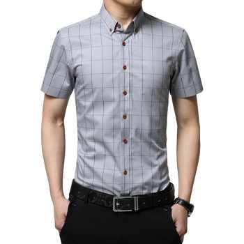 Plus Size 5XL 2019 Summer Fashion Men\'s Short Sleeve Cotton Social Shirts Plaid Checked Shirt for Men Brand Chothing - Category 🛒 Men\'s Clothing