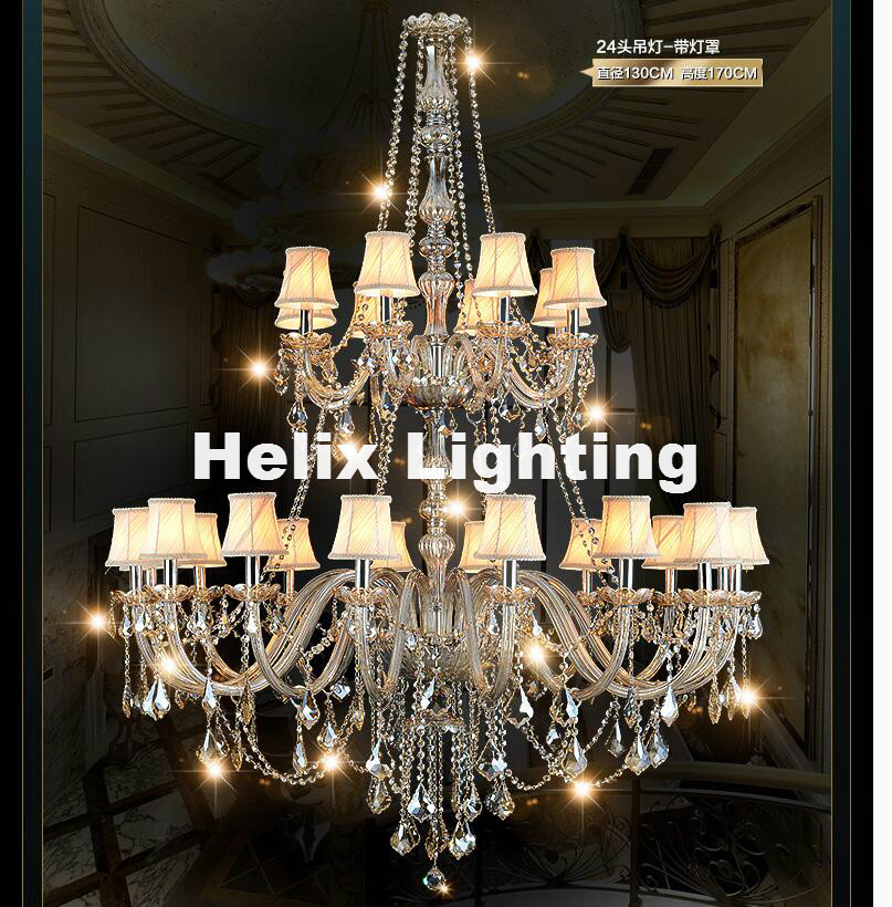 Free Shipping 24 Arms Luxury Three Layers Crystal Chandelier Lamp D130cm H170cm E14 Top K9 Champagne Crystal Hotel Hall Lighting