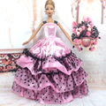 NK One Pcs Handmade Princess Wedding Dress Noble Party Gown For Barbie Doll Fashion Design Outfit Best Gift For Girl' Doll 054A