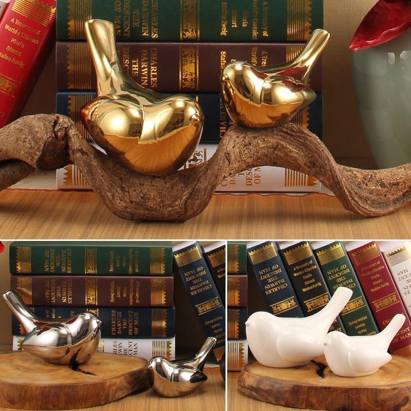 unids arte vintage goldsilver bird modelo decorativo adorno sala de estar casera decoracin